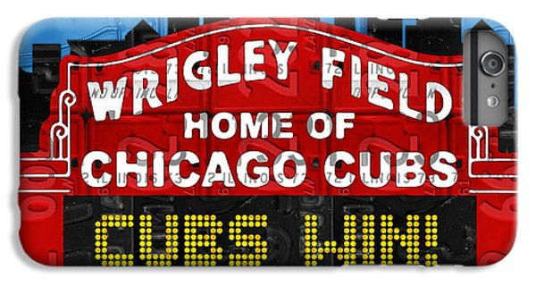 Cubs Win Wrigley Field Chicago Illinois Recycled Vintage License Plate Baseball Team Art IPhone 6s Plus Case by Design Turnpike