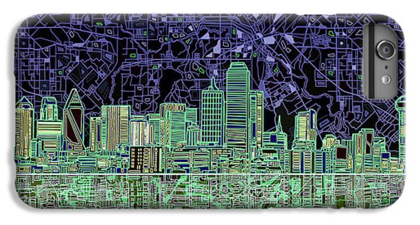 Dallas Skyline iPhone 6s Plus Case - Dallas Skyline Abstract 4 by Bekim Art