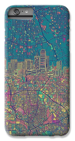 Dallas Skyline iPhone 6s Plus Case - Dallas Skyline Map Green by Bekim Art