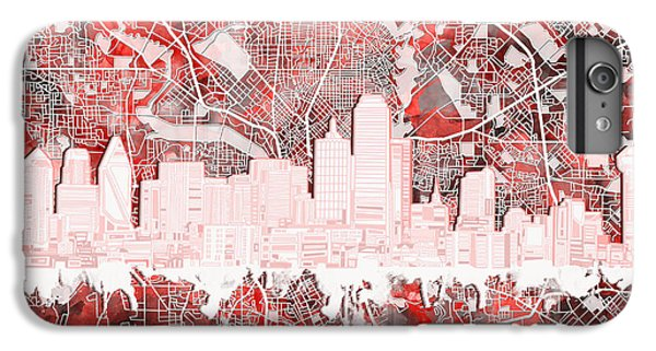 Dallas Skyline iPhone 6s Plus Case - Dallas Skyline Map Red 2 by Bekim Art