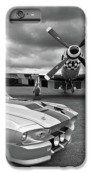 Airplane iPhone 6s Plus Case - Eleanor Mustang With P51 Black And White by Gill Billington