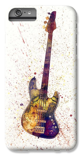 Guitar iPhone 6s Plus Case - Electric Bass Guitar Abstract Watercolor by Michael Tompsett