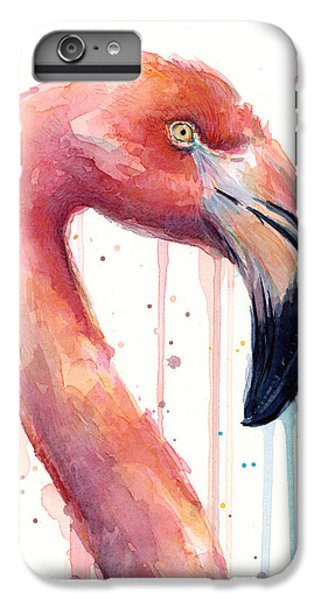 Flamingo iPhone 6s Plus Case - Flamingo Painting Watercolor - Facing Right by Olga Shvartsur