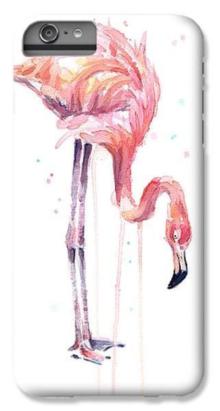 Flamingo iPhone 6s Plus Case - Flamingo Painting Watercolor by Olga Shvartsur