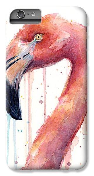 Flamingo iPhone 6s Plus Case - Flamingo Watercolor Illustration by Olga Shvartsur