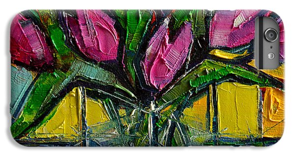 Floral Miniature - Abstract 0615 - Pink Tulips IPhone 6s Plus Case by Mona Edulesco