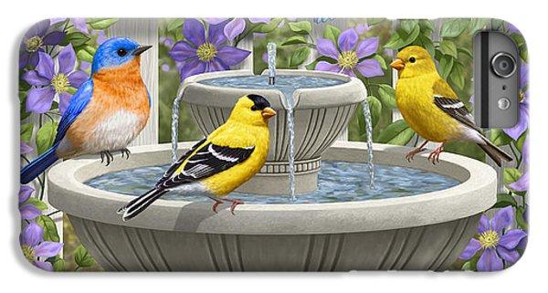 Fountain Festivities - Birds And Birdbath Painting IPhone 6s Plus Case by Crista Forest
