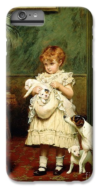 Great White Shark iPhone 6s Plus Case - Girl With Dogs by Charles Burton Barber