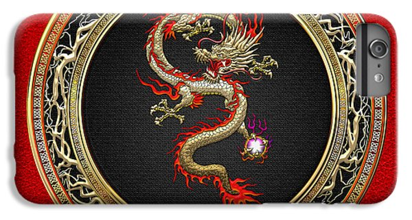 iPhone 6s Plus Case - Golden Chinese Dragon Fucanglong On Red Leather  by Serge Averbukh