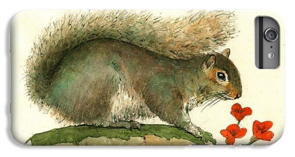 Squirrel iPhone 6s Plus Case - Gray Squirrel Flowers by Juan Bosco