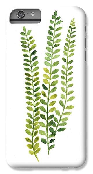 Garden iPhone 6s Plus Case - Green Fern Watercolor Minimalist Painting by Joanna Szmerdt