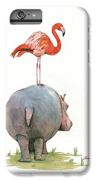 Birds iPhone 6s Plus Case - Hippo With Flamingo by Juan Bosco