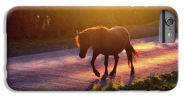 Horse iPhone 6s Plus Case - Horse Crossing The Road At Sunset by Mikel Martinez de Osaba