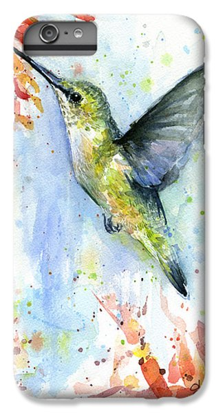 Hummingbird iPhone 6s Plus Case - Hummingbird And Red Flower Watercolor by Olga Shvartsur