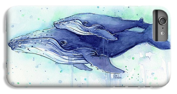 Whale iPhone 6s Plus Case - Humpback Whale Mom And Baby Watercolor by Olga Shvartsur