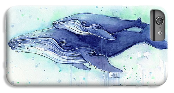 Humpback Whale Mom And Baby Watercolor IPhone 6s Plus Case by Olga Shvartsur