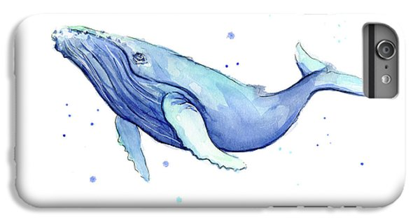 Whale iPhone 6s Plus Case - Humpback Whale Watercolor by Olga Shvartsur