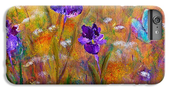 Iris Wildflowers And Butterfly IPhone 6s Plus Case by Claire Bull