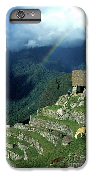 Llama iPhone 6s Plus Case - Llama And Rainbow At Machu Picchu by James Brunker