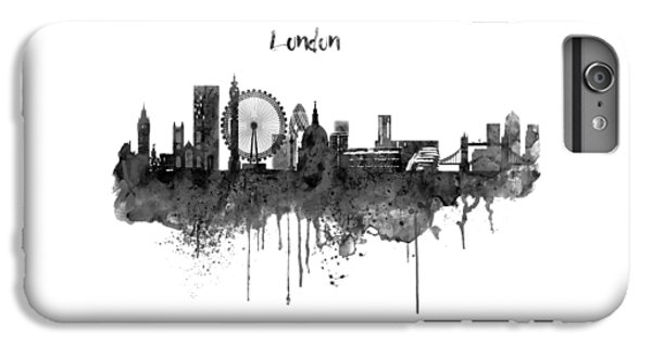 London Black And White Skyline Watercolor IPhone 6s Plus Case by Marian Voicu