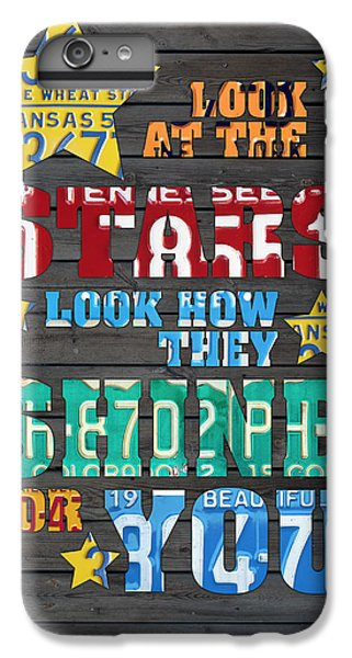 Look At The Stars Coldplay Yellow Inspired Typography Made Using Vintage Recycled License Plates IPhone 6s Plus Case