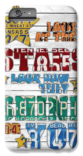 Coldplay iPhone 6s Plus Case - Look At The Stars Coldplay Yellow Inspired Typography Made Using Vintage Recycled License Plates V2 by Design Turnpike