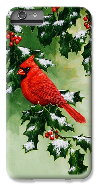 Male Cardinal And Holly Phone Case IPhone 6s Plus Case by Crista Forest