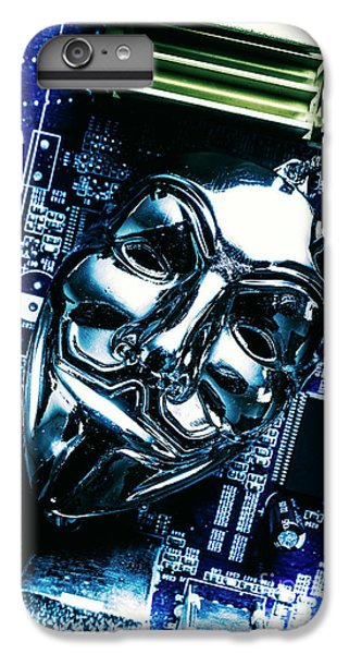 Metal Anonymous Mask On Motherboard IPhone 6s Plus Case by Jorgo Photography - Wall Art Gallery