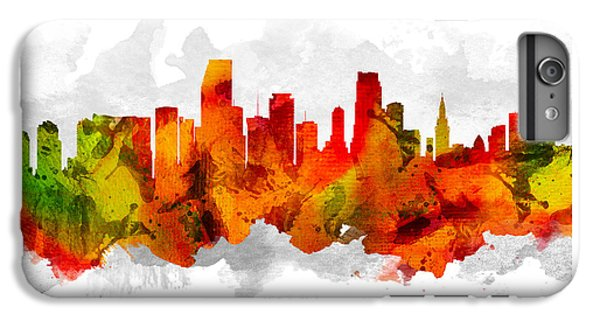Miami Skyline iPhone 6s Plus Case - Miami Florida Cityscape 15 by Aged Pixel