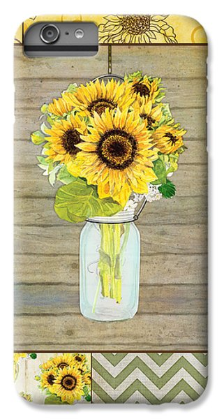 Sunflower iPhone 6s Plus Case - Modern Rustic Country Sunflowers In Mason Jar by Audrey Jeanne Roberts
