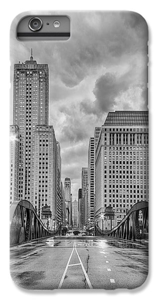 Monochrome Image Of The Marshall Suloway And Lasalle Street Canyon Over Chicago River - Illinois IPhone 6s Plus Case