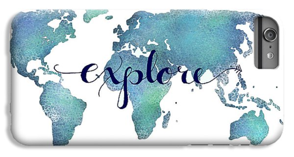 Navy And Teal Explore World Map IPhone 6s Plus Case by Michelle Eshleman