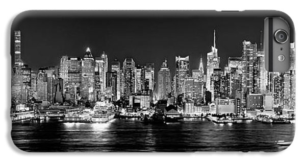 Broadway iPhone 6s Plus Case - New York City Nyc Skyline Midtown Manhattan At Night Black And White by Jon Holiday