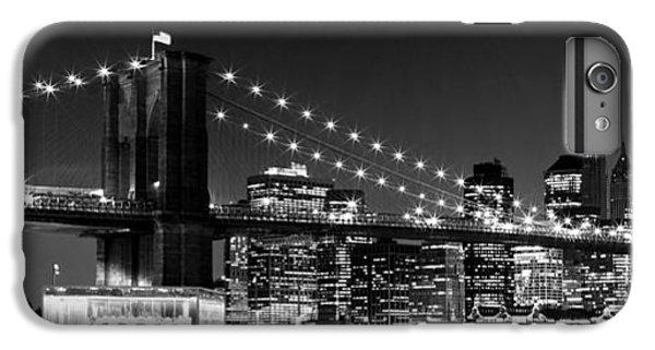 Brooklyn Bridge iPhone 6s Plus Case - Night Skyline Manhattan Brooklyn Bridge Bw by Melanie Viola