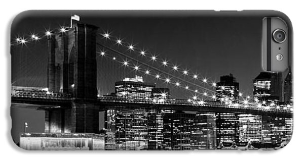 Night Skyline Manhattan Brooklyn Bridge Bw IPhone 6s Plus Case by Melanie Viola