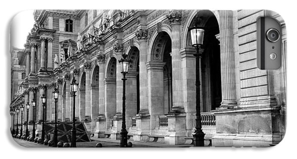 Louvre iPhone 6s Plus Case - Paris Louvre Black And White Architecture - Louvre Lantern Lights by Kathy Fornal