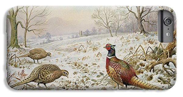Pheasant And Partridges In A Snowy Landscape IPhone 6s Plus Case by Carl Donner