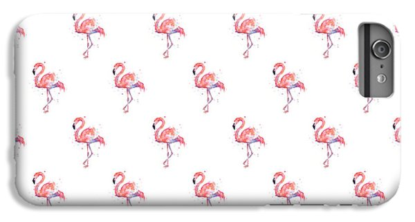 Animals iPhone 6s Plus Case - Pink Flamingo Watercolor Pattern by Olga Shvartsur
