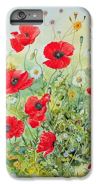 Garden Snake iPhone 6s Plus Case - Poppies And Mayweed by John Gubbins