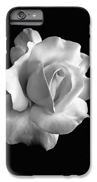 White iPhone 6s Plus Case - Porcelain Rose Flower Black And White by Jennie Marie Schell