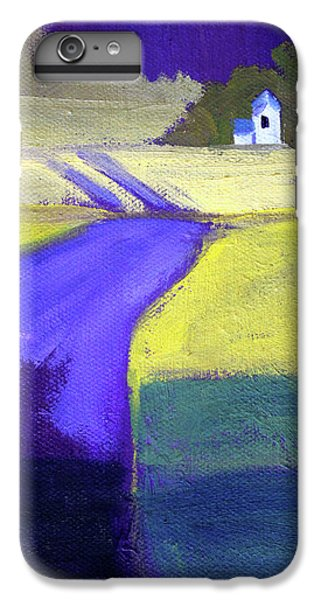 IPhone 6s Plus Case featuring the painting Purple Road Abstract Landscape Painting by Nancy Merkle