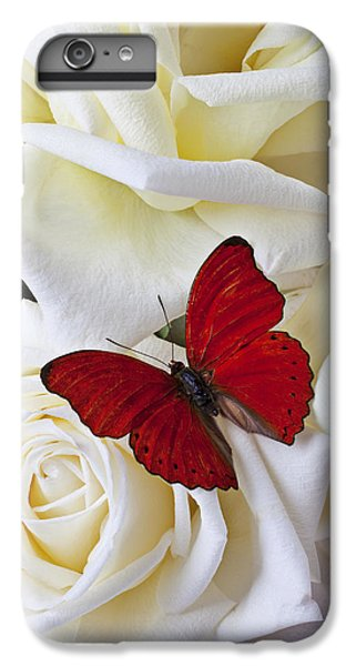 Red Butterfly On White Roses IPhone 6s Plus Case