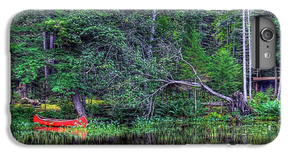 IPhone 6s Plus Case featuring the photograph Red Canoe Among The Reeds by David Patterson