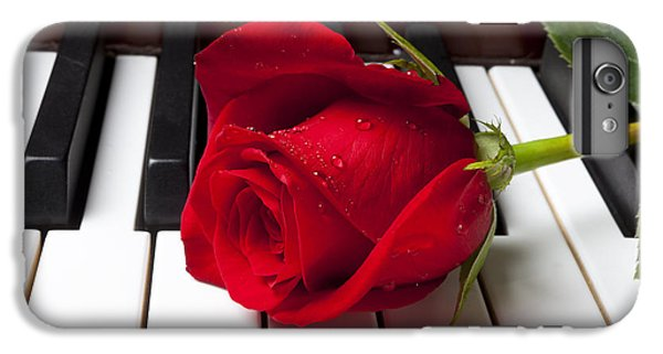 Floral iPhone 6s Plus Case - Red Rose On Piano Keys by Garry Gay
