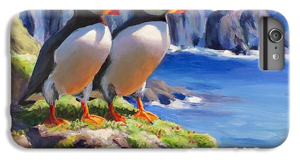 Puffin iPhone 6s Plus Case - Reflecting - Horned Puffins - Coastal Alaska Landscape by Karen Whitworth