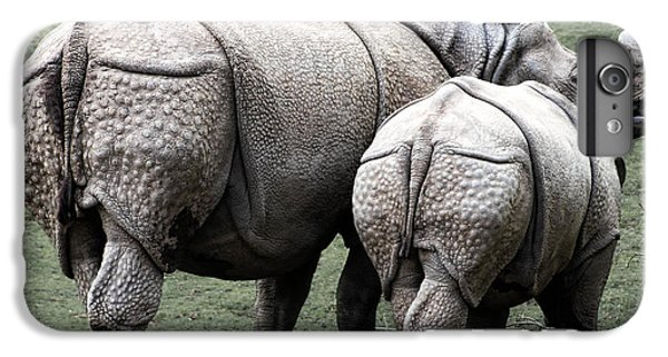 Rhinocerus iPhone 6s Plus Case - Rhinoceros Mother And Calf In Wild by Daniel Hagerman