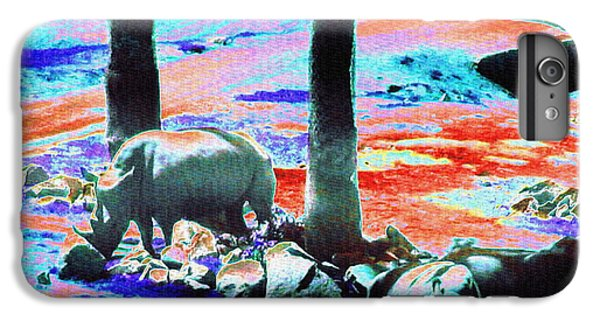 Rhinocerus iPhone 6s Plus Case - Rhinos Having A Picnic by Abstract Angel Artist Stephen K