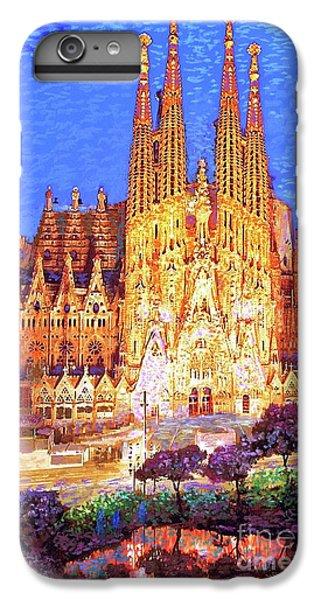 Barcelona iPhone 6s Plus Case - Sagrada Familia At Night by Jane Small