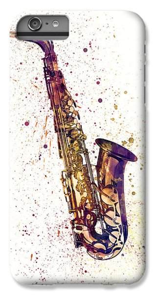 Saxophone iPhone 6s Plus Case - Saxophone Abstract Watercolor by Michael Tompsett