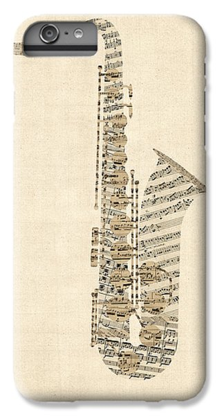 Saxophone iPhone 6s Plus Case - Saxophone Old Sheet Music by Michael Tompsett